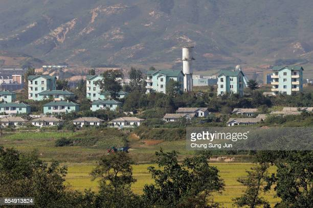 North Korea's propaganda village of Gijungdong is seen from an observation post on September 28 2017 in Panmunjom South Korea North Korean Foreign...