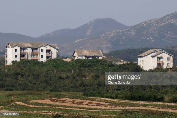 North Korea's propaganda village of Gijungdong is seen from an observation post on September 28, 2017 in Panmunjom, South Korea. North Korean Foreign...