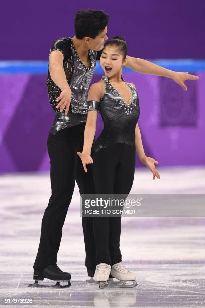 North Korea's Ryom Tae Ok and North Korea's Kim Ju Sik compete in the pair skating short program of the figure skating event during the Pyeongchang...