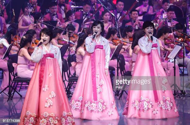 North Korea's Samjiyon Orchestra performs on February 8 2018 in Gangneung South Korea