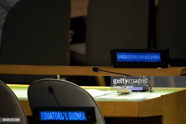 North Korea's seats are empty as US President Donald Trump addresses the United Nations General Assembly at UN headquarters September 19 2017 in New...