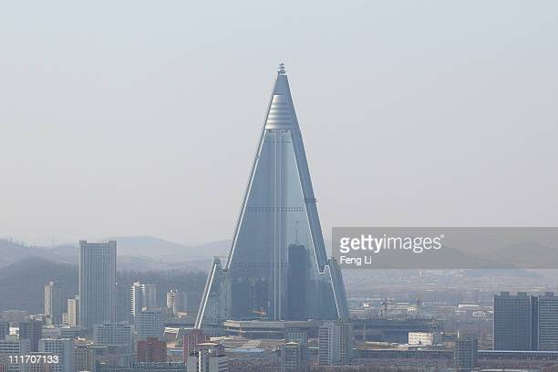 North Korea's tallest structure the Ryugyong Hotel is seen on April 3 2011 in Pyongyang North Korea Pyongyang is the capital city of North Korea and...