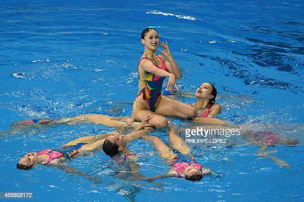 North Korea's team competes in the team free routine final synchronised swimming event during the 2014 Asian Games at the Munhak Park Taehwan...
