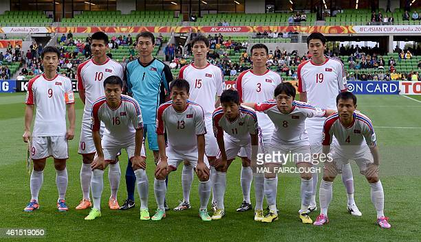 North Korea's team poses before the Group B Asian Cup football match between North Korea and Saudi Arabia in Melbourne on January 14 2015 AFP PHOTO /...