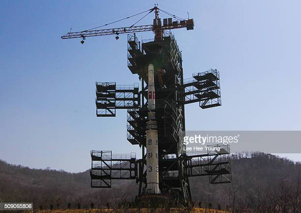 North Korea's Unha3 rocket is being prepared for takeoff at the Sohae Satellite Launching Station northwest of Pyongyang April 8 2012 in Cholsan...
