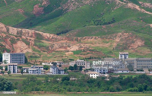 North Korea's village is seen from a South Korean observation post on May 26, 2010 in Demilitarized Zone , South Korea. North Korea declared to cut...