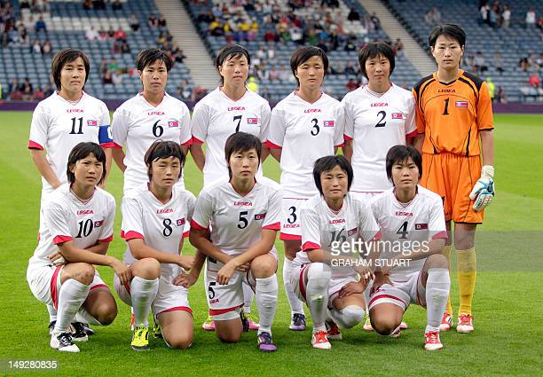 North Korea's women's Olympic team players midfielder Kim Chung Sim midfielder Choe Un Ju midfielder Ri Ye Gyong defender Kim Myong Gum defender Kim...