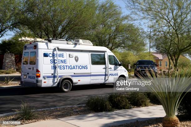North Las Vegas Police Department's Crime Scene Investigations vehicle arrives in the Sun City Mesquite community where suspected Las Vegas gunman...