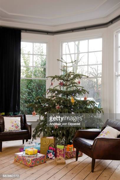 north london victorian conversion decorated for christmas - celebration stock pictures, royalty-free photos & images
