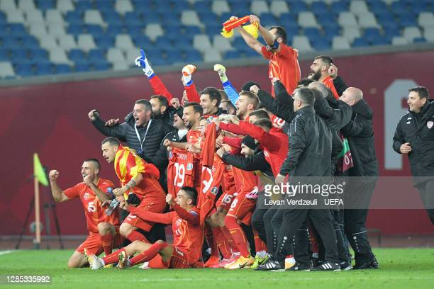 North Macedonia Celebrate after their teams victory in the UEFA EURO 2020 Play-Off Final between Georgia and North Macedonia at Dinamo Arena on...