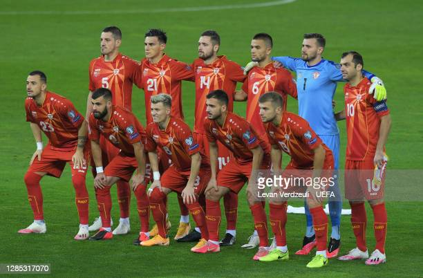 North Macedonia pose for a team photo during the UEFA EURO 2020 Play-Off Final between Georgia and North Macedonia at Dinamo Arena on November 12,...