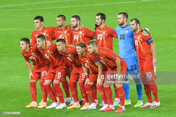 North Macedonian team poses for the group photo during the UEFA Nations League group stage match between Georgia and North Macedonia at Boris...