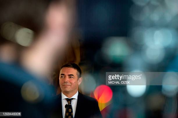 North Macedonia's Foreign Minister Nikola Dimitrov gives a joint press conference with his Czech counterpart during a meeting on February 26, 2020 in...