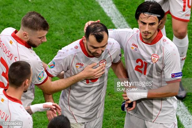 North Macedonia's forward Goran Pandev leaves the pitch during the UEFA EURO 2020 Group C football match between North Macedonia and the Netherlands...