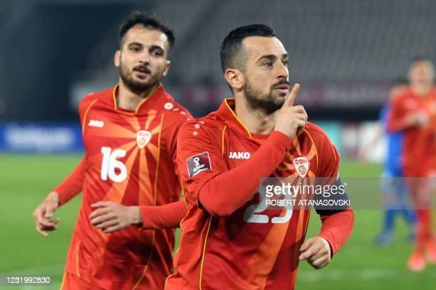 North Macedonia's forward Ilija Nestorovski celebrates after scoring during the FIFA World Cup Qatar 2022 qualification Group J football match...