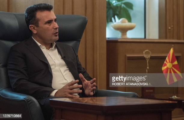 North Macedonia's Prime Minister Zoran Zaev gestures as he speaks during a interview with the Agence France presse in Skopje on November 20, 2020. -...