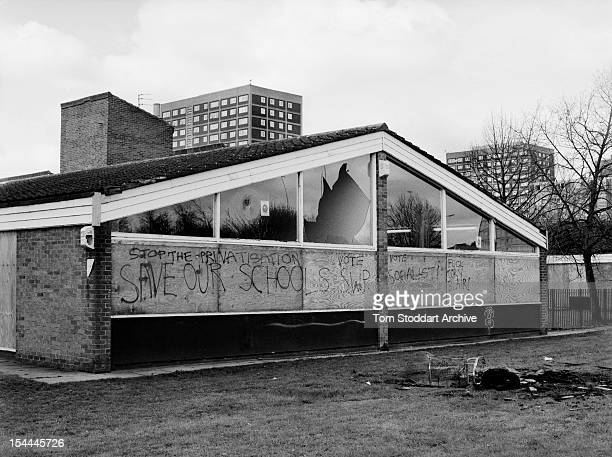 A north Manchester school that has had windows broken by vandals and been defaced with antigovernment and antiTony Blair graffiti 2000