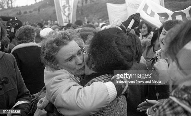 North meets South a tearful Lady Valerie Goulding embraces a Belfast woman at the Peace Rally at the Boyne Bridge in Drogheda 1276135