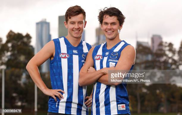North Melbourne draftees Joel Crocker and Curtis Taylor pose for a photograph during a North Melbourne Kangaroos AFL media opportunity opportunity at...