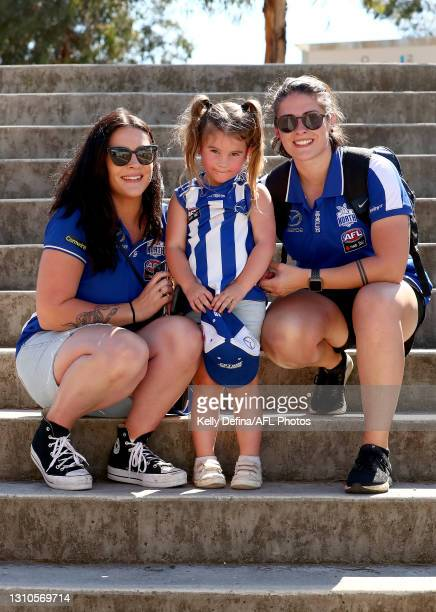 North Melbourne fans show support during the AFLW Finals Series match between the Collingwood Magpies and the North Melbourne Kangaroos at Victoria...