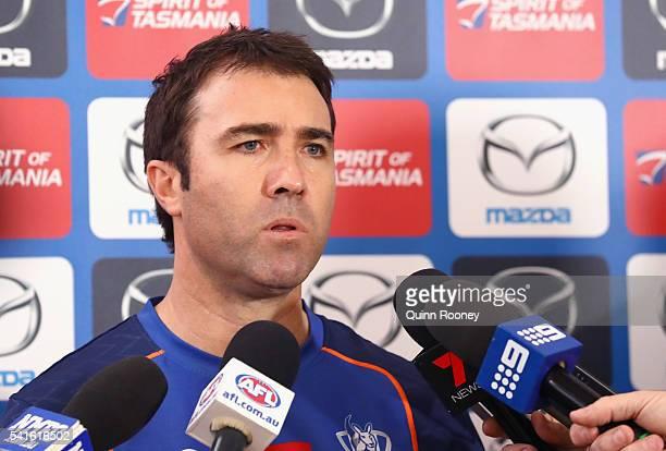 North Melbourne Kangaroos AFL coach Brad Scott talks to the media at Arden Street Ground on June 20 2016 in Melbourne Australia
