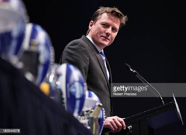 North Melbourne President James Brayshaw speaks during the 2013 Blackwoods North Melbourne Grand Final Breakfast at Etihad Stadium on September 28...
