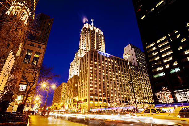 """North Michigan Avenue, Downtown Chicago, at Night"""