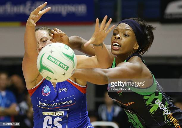 North Mystics goal shoot Cathrine Latu is blocked by West Coast Fever goal keep Eboni BeckfordChambers during the round 13 ANZ Championships match...