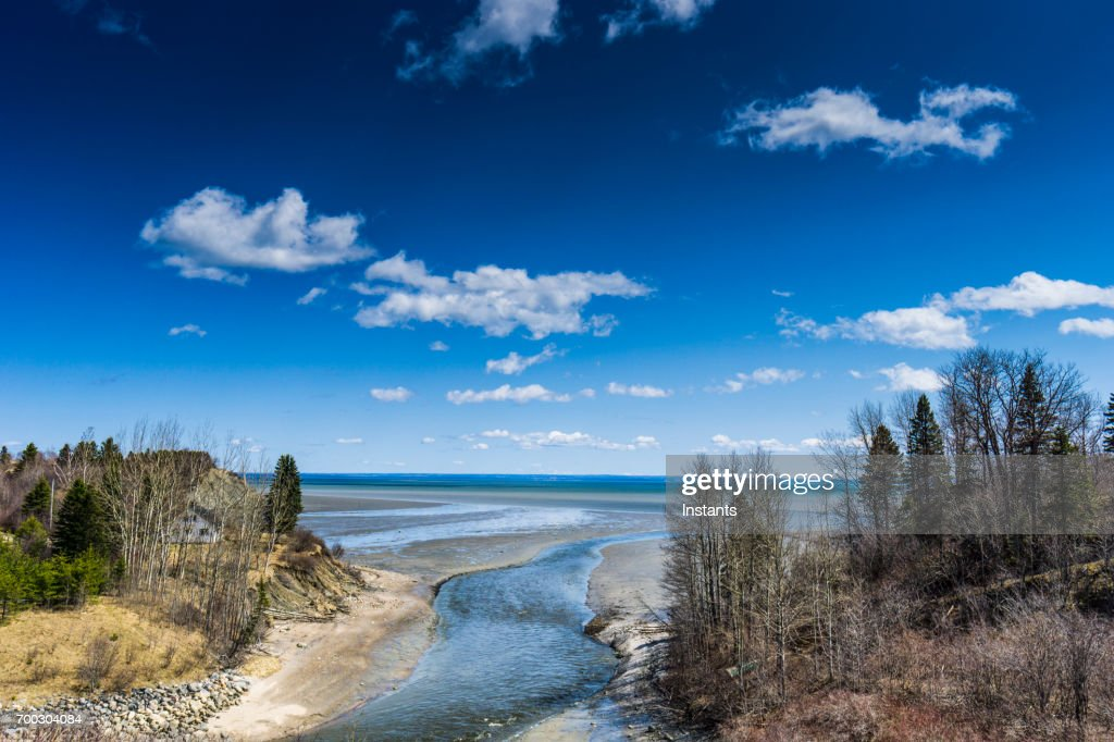 North of La Malbaie, a view at the beautiful nature of Charlevoix and St.Lawrence river, in the province of Quebec. : Stock Photo