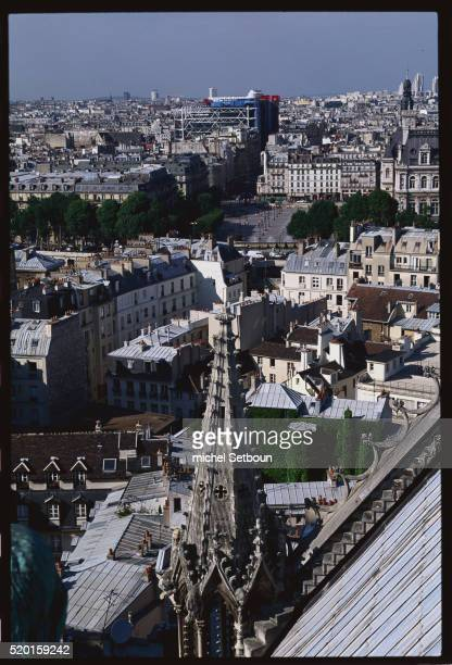 north of paris from notre dame cathedral - centre pompidou stock pictures, royalty-free photos & images