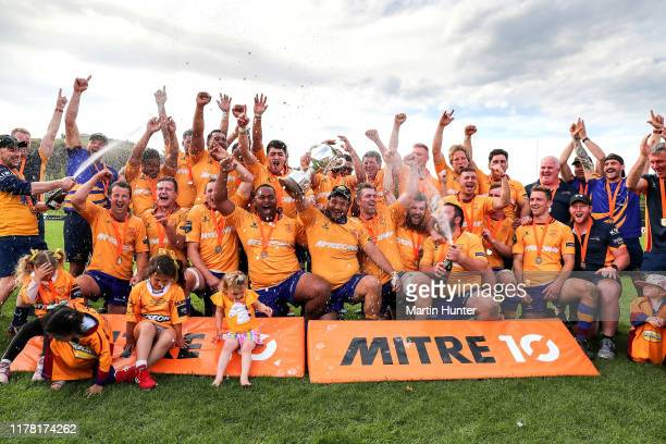 North Otago team celebrate with the Meads Cup after the Mitre 10 Heartland Championship Meads Cup Final between North Otago and Wanganui at...
