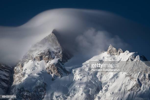 North peak of Nanga Parbat moutain massif covered by cloud, Chilas, Gilgit Baltistan, Pakistan
