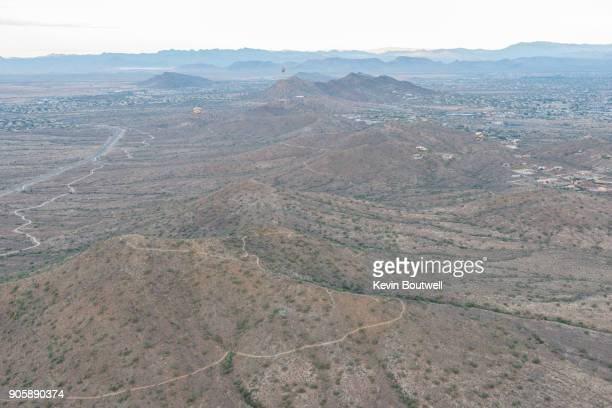 North Phoenix desert and communities aerial image shot from a hot air balloon