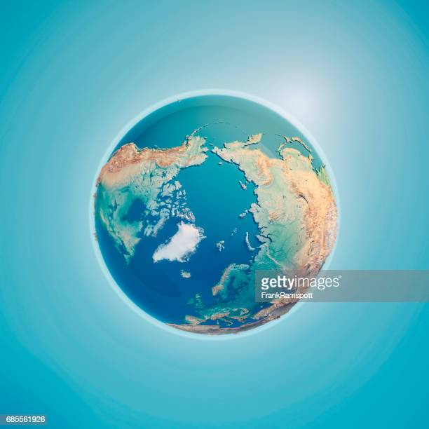 north pole 3d render planet earth - frank ramspott stock pictures, royalty-free photos & images