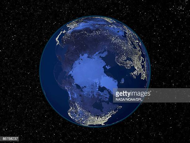 North pole at night, satellite image of the Earth at night