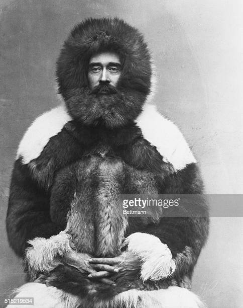 North Pole explorer Robert E Peary in a fur parka