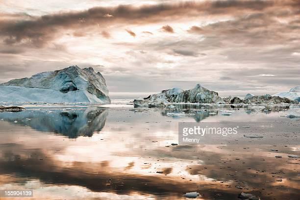 North Pole Icebergs Arctic Greenland during Sunrise