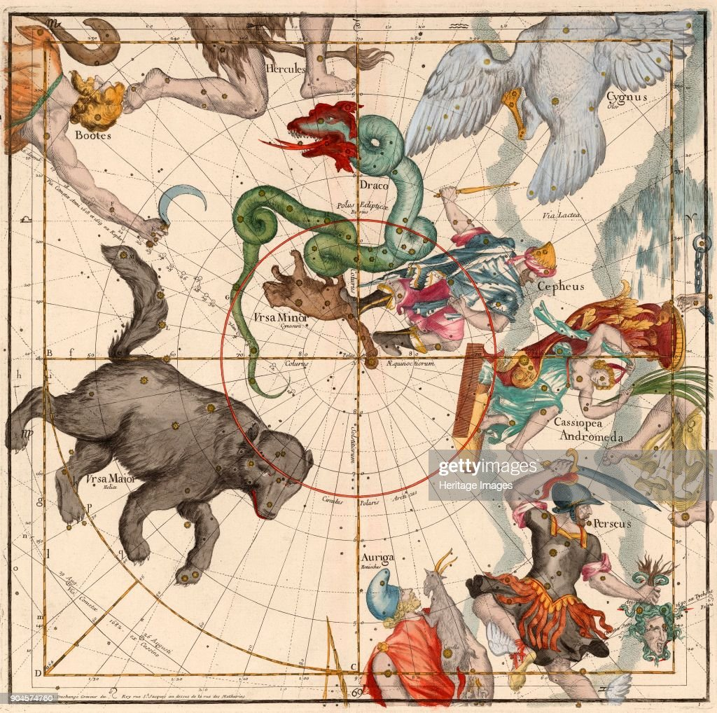 North Pole, Plate 1 from Globi coelestis in tabulas planas redacti descriptio, Ignace-Gaston Pardies, pub. 1674 (hand coloured engraving).