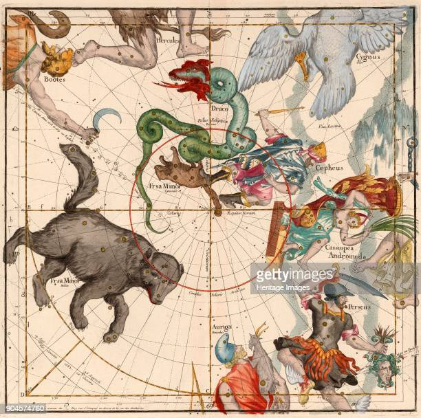 North Pole Plate 1 from Globi coelestis in tabulas planas redacti descriptio IgnaceGaston Pardies pub 1674