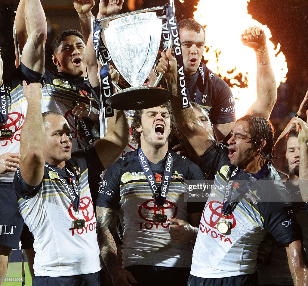 North Queensland Cowboys celebrate winning the World Club Series match between Leeds Rhinos and North Queensland Cowboys, at Headingley Carnegie Stadium, on February 21, 2016 in Leeds, England.