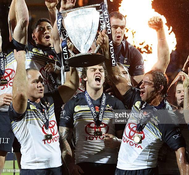 North Queensland Cowboys celebrate winning the World Club Series match between Leeds Rhinos and North Queensland Cowboys, at Headingley Carnegie...