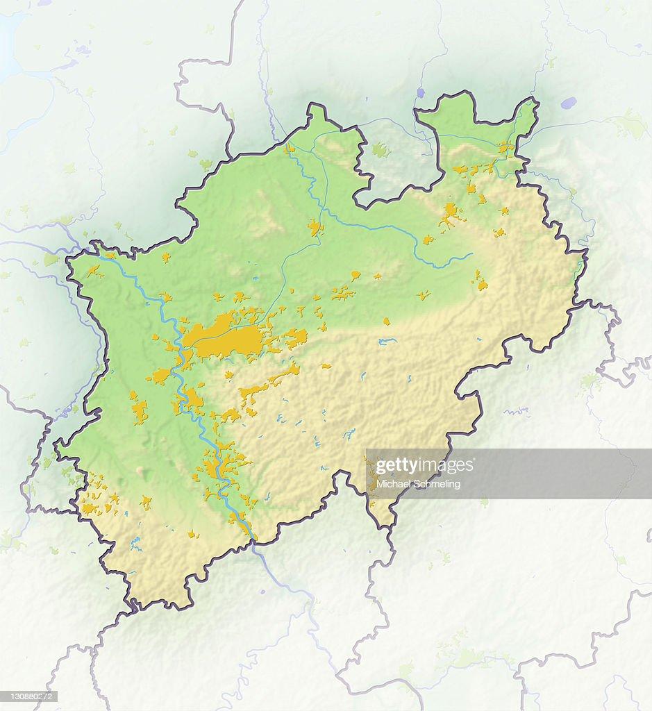 North Rhinewestphalia Germany Shaded Relief Map Stock Photo Getty