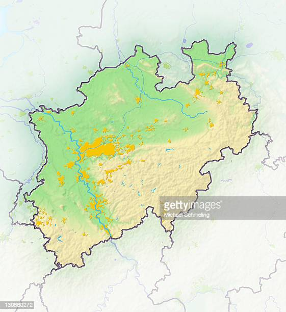 north rhine-westphalia, germany, shaded relief map - north rhine westphalia stock pictures, royalty-free photos & images