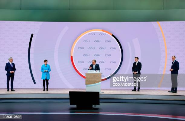 North Rhine-Westphalia's State Premier and candidate as leader of the Christian Democratic Union Armin Laschet delivers a speech after being elected...