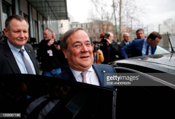 North RhineWestphalia's State Premier and Deputy Chairman of the Christian Democratic Union Armin Laschet leaves after a press conference on February...