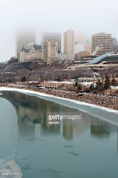 north saskatchewan river in downtown edmonton, alberta, canada at sunrise