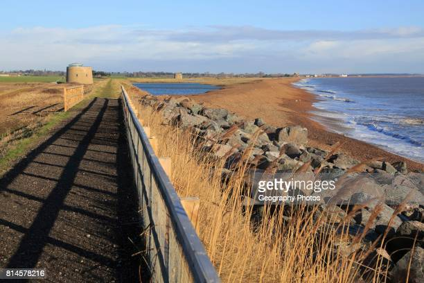 North Sea coastline between Bawdsey and Shingle Street East Lane Bawdsey Suffolk England UK