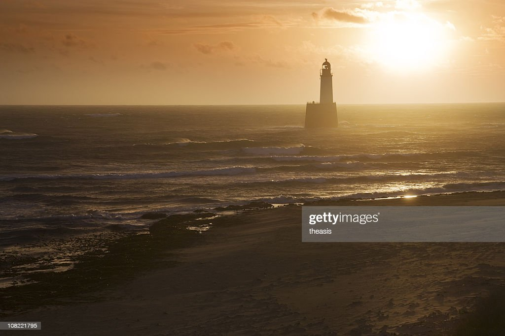 North Sea Lighthouse And Beach At Dawn : Stock Photo