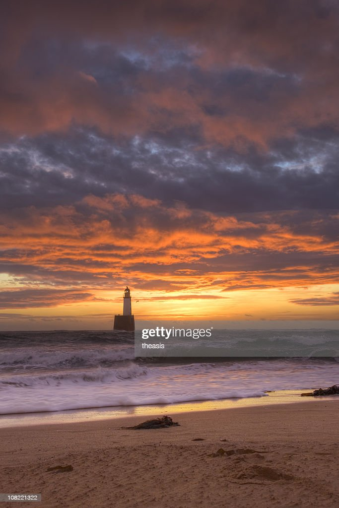 North Sea Lighthouse At Dawn : Stock Photo
