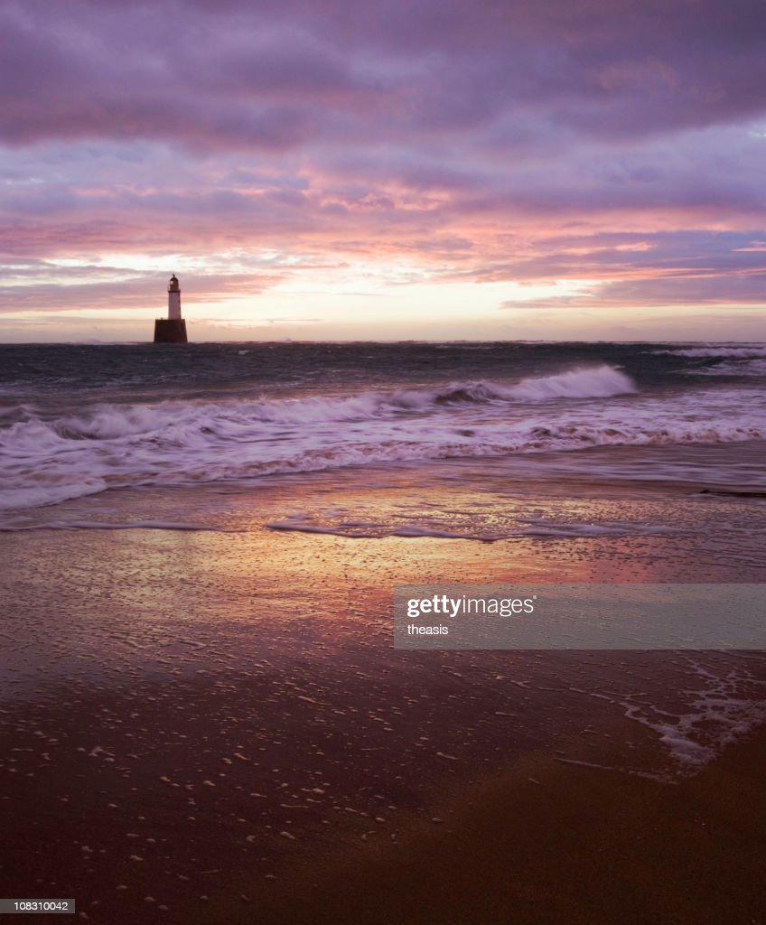 North Sea Lighthouse Before Dawn : Stock Photo